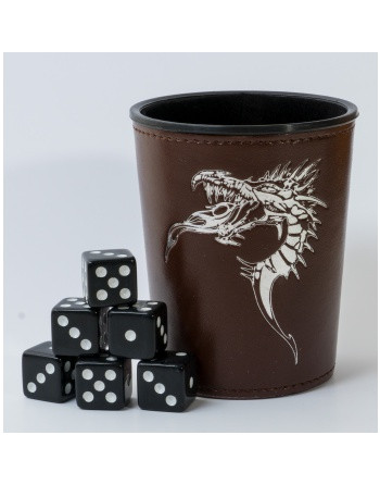 Dice Cup - Brown /w Dragon...